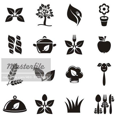 Black vector vegetarian organic food icons set isolated