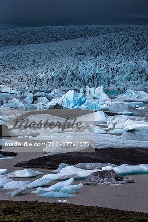 View of glacial ice in lake, Fjallsarlon Glacier, Iceland