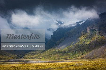 Scenic view of mist and mounains, Kviamyrarkambur, Iceland