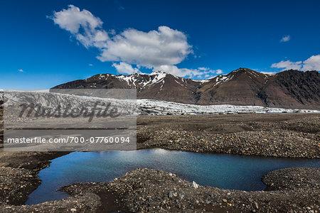 Scenic view of glacier, lake and mountains, Skaftafellsjokull, Skaftafell National Park, Iceland