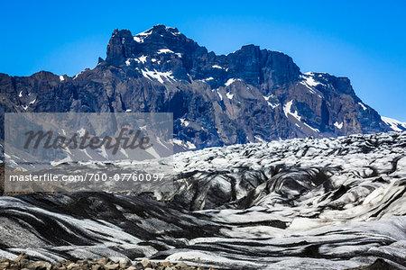 Close-up of glacier with mountains in background, Skaftafellsjokull, Skaftafell National Park, Iceland