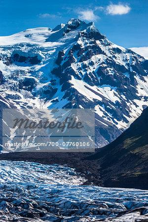 Close-up view of glacier and mountain, Svinafellsjokull, Skaftafell National Park, Iceland