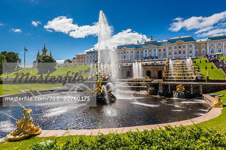 Samson Fountain and the Grand Cascade, Peterhof Palace, St. Petersburg, Russia