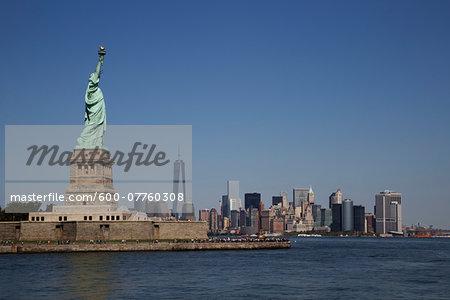Statue Of Liberty with New York City Skyline, New York, USA
