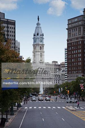 Philadelphia City Hall viewed from Benjamin Franklin Parkway with LOVE Park Fountain, Philadelphia, Pennsylvania, USA