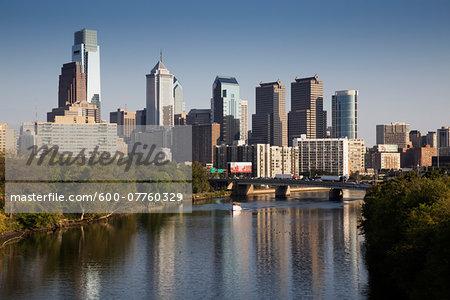 Schuylkill River and Skyline, Philadelphia, Pennsylvania, USA