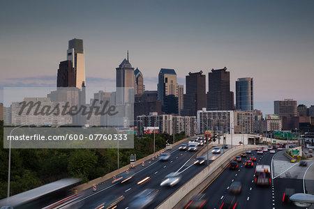Traffic and Skyline, Philadelphia, Pennsylvania, USA