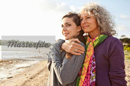 Mother and daughter enjoying beach