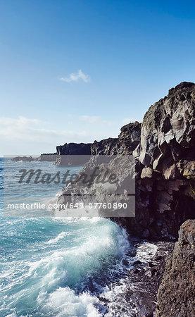 Ocean waves on rugged coast, Lanzarote, Canary Islands, Spain