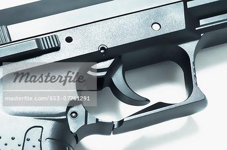 Close-up of the trigger on a handgun