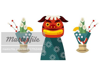 Shishi-gashira (Lion head) and Kadomatsu (Gate pine)