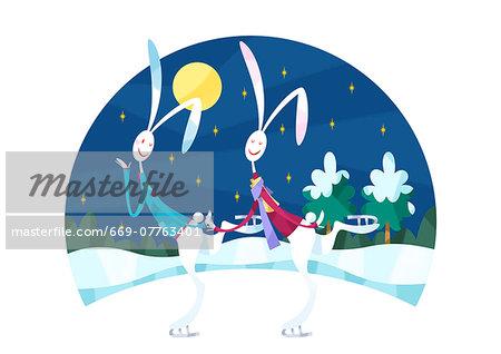 Rabbit couple, ice skating