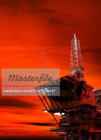 Oil rig, computer artwork.