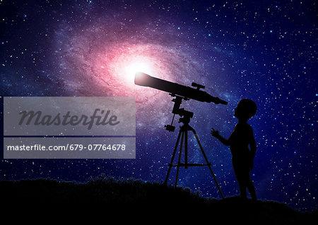 Silhouette of boy using telescope at night, computer artwork.
