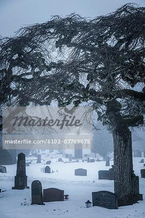 Graves at churchyard