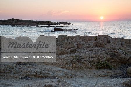 Beach at sunrise, Capo Comino, Siniscola, Nuoro Province, Sardinia, Italy