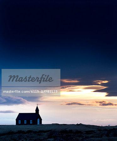Budir Church at sunrise, hamlet on Budir in Stadarsveit on the Snaefellsnes Peninsula, Iceland, Polar Regions