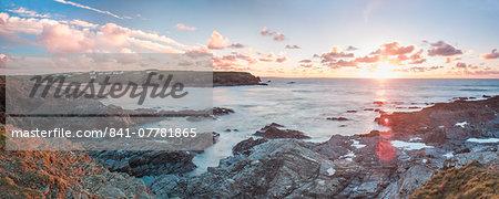 Rocky coast at Treyarnon Bay at sunset, Cornwall, England, United Kingdom, Europe