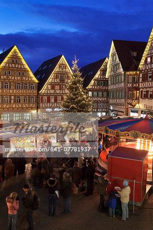 Christmas Fair in the Market Place, Herrenberg, Boblingen District, Baden Wurttemberg, Germany, Europe