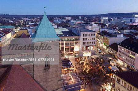 View from Kilianskirche church of Christmas fair in Kiliansplatz Square, Heilbronn, Baden Wurttemberg, Germany, Europe