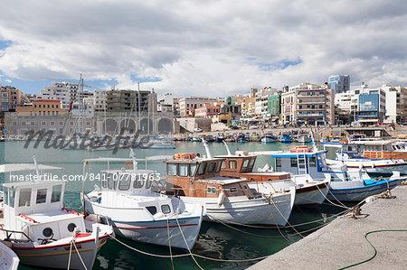 View from Venetian harbour, Iraklion (Heraklion) (Iraklio), Crete, Greek Islands, Greece, Europe