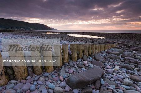 Sunset over Bossington Beach, Exmoor, Somerset, England, United Kingdom, Europe