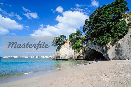 White sand beach on Cathedral Cove, Coromandel, North Island, New Zealand, Pacific