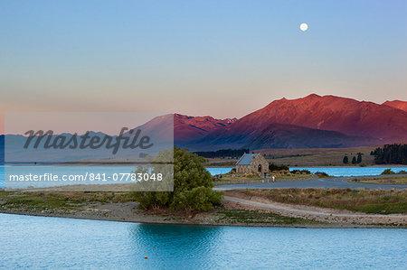 Church of the Good Shepherd at sunset, Lake Tekapo, Canterbury region, South Island, New Zealand, Pacific