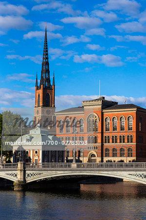 Vasa Bridge on the Norrstrom River with Riddarholmen Church and Gamla Riksarkivet (Old National Archives Building), Riddarholmen, Stockholm, Sweden