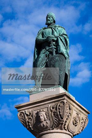 Close-up of Statue of Birger Jarl, Birger Jarls Square, Riddarholmen, Stockholm, Sweden