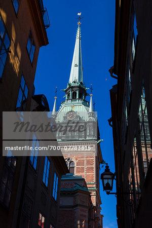 Close-up of clock tower of the German Church (Tyska Kyrkan), Gamla Stan (Old Town), Stockholm, Sweden