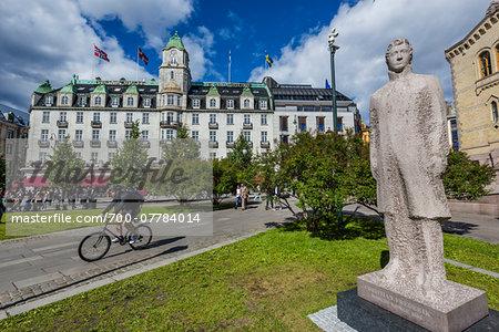 Statue and Bike Path by Grand Hotel, Karl Johans Gate, Oslo, Norway