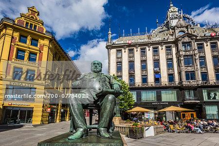 Statue of Christian Krohg, Egertorget, Karl Johans Gate, Oslo, Norway