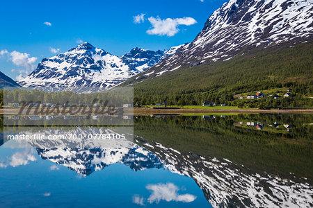 Motor Homes by Lake, Ramfjord, Tromso, Norway
