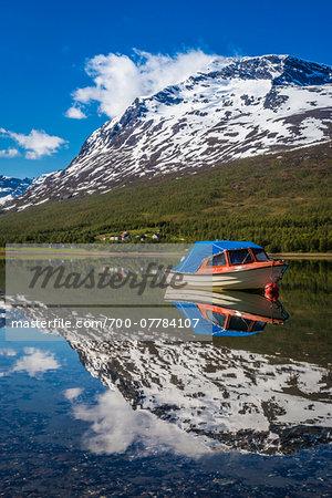 Boat on Lake, Ramfjord, Tromso, Norway