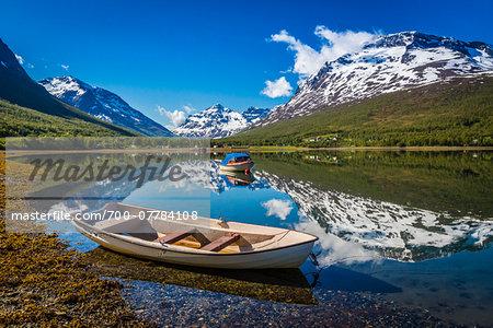 Boats on Lake, Ramfjord, Tromso, Norway