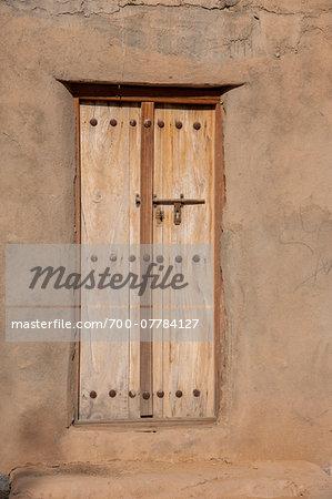 Typical Wooden Omani Door in Clay Wall, Al Kamil, Oman