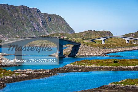 Fredvang Bridges connceting Flakstadoya and Moskenesoya, Lofoten Archipelago, Norway