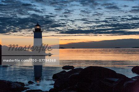Fort Pickering Light at Sunset, Winter Island, Salem, Massachusetts, USA