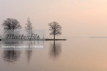 Morning Scene of Lake Schwerin, Schweriner Innensee, Schwerin, Western Pomerania, Mecklenburg-Vorpommern, Germany