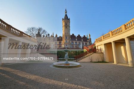 Courtyard at Schwerin Castle, Schwerin, Western Pomerania, Mecklenburg-Vorpommern, Germany