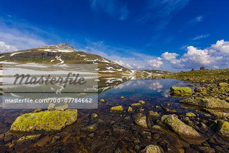 Mountain Lake along Bjorgavegen Tourist Route from Aurland to Laerdal, Sogn og Fjordane, Norway