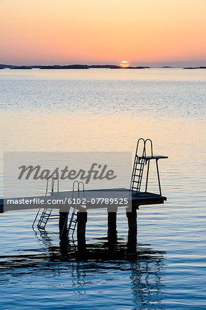 Jetty at sunset, Gothenburg, Sweden