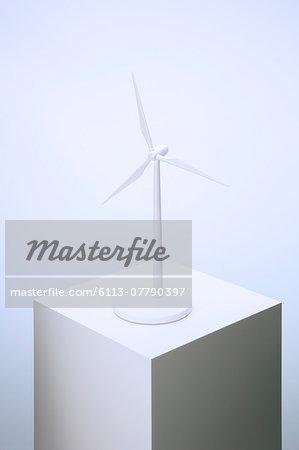 Wind turbine model sitting on pedestal