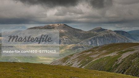 Near summit of Meall Gorm looking towards the Beinn Dearg hills in Scottish Highlands