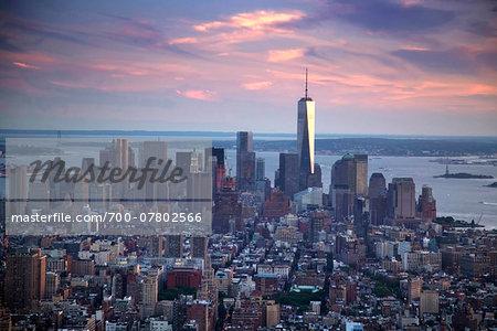 Aerial view of New York City skyline, New York, USA