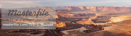 Overview of landscape at sunrise, Canyonlands National Park, Utah, USA