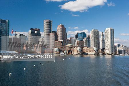 Overview of skyline and harbor, Boston Harbor, Boston, Massachusetts, USA