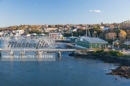 Scenic view of harbor, Belfast, Waldo County, Maine, USA