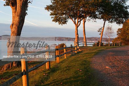 Scenic view of coast in autumn, Maine, USA